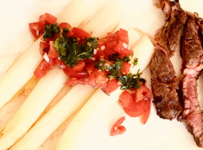 Asperges met Rib Eye Steak
